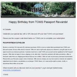 TOMS Passport Rewards birthday email