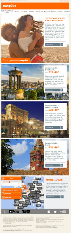 Easyjet – beat the holiday blues.