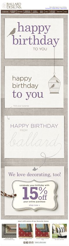 Ballard Designs birthday email