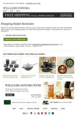 Williams-Sonoma abandoned cart email