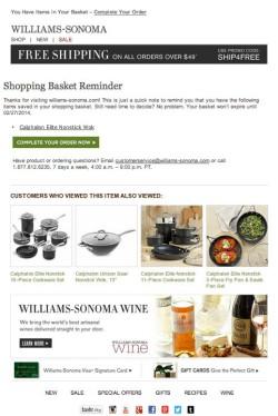 Williams-Sonoma abandoned cart email
