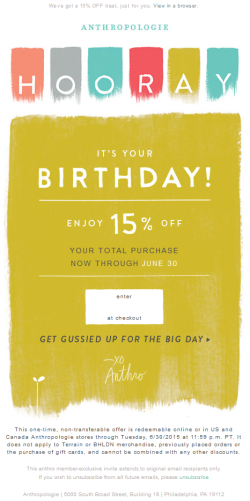 Anthropologie birthday email