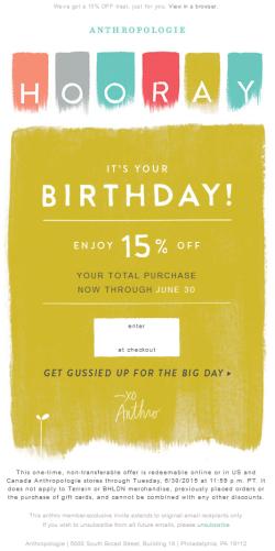Anthropologie birthday email