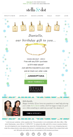Stella & Dot birthday email