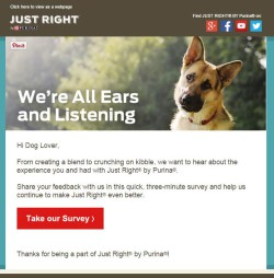 2015 Just Right Purina survey email