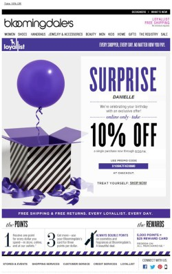 bloomingdales loyalist birthday email