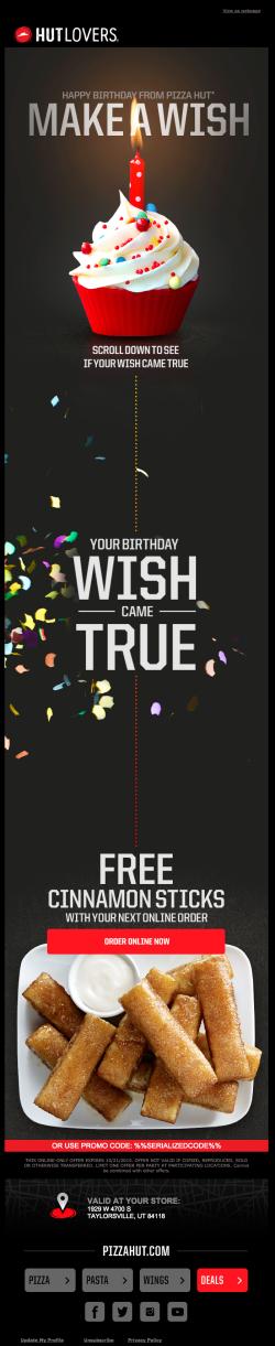 Pizza Hut birthday email