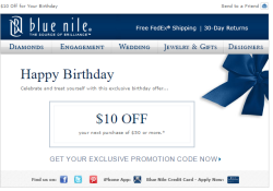 Blue Nile birthday email