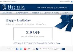 Blue Nile birthday email
