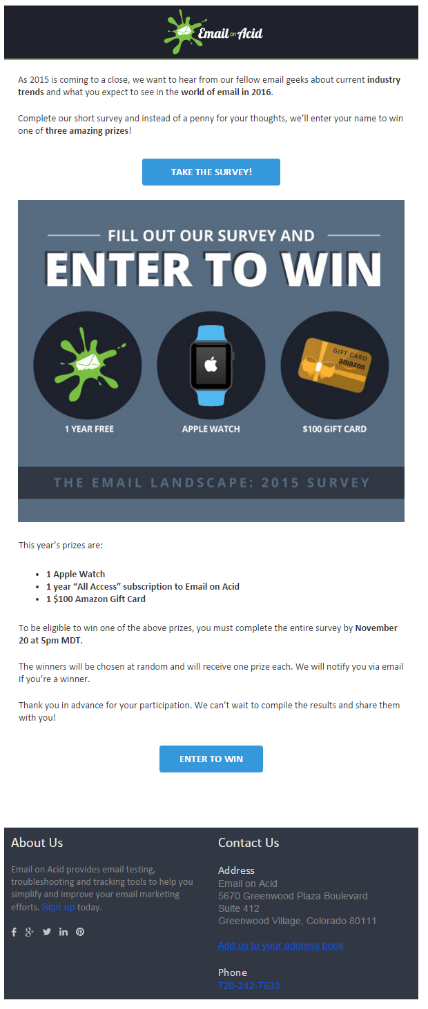 Email on Acid Survey email