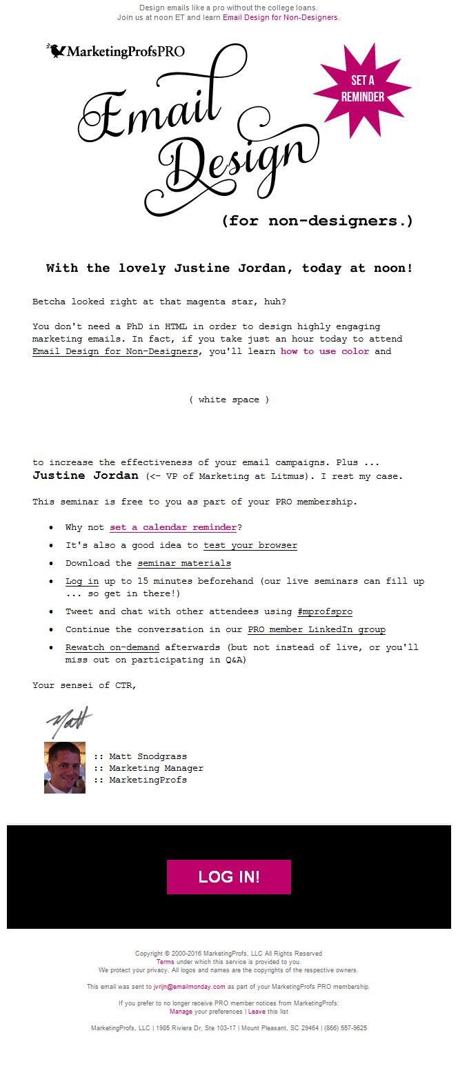 MarketingprofsPRO – emaildesign for non email designers webinar