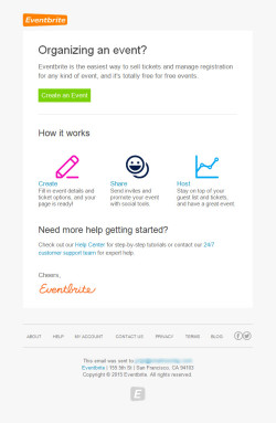 Eventbrite – Onboarding mail: Organising an event?