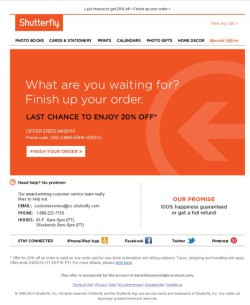 Shutterfly abandoned cart email