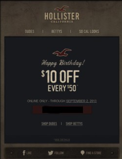 Hollister birthday email