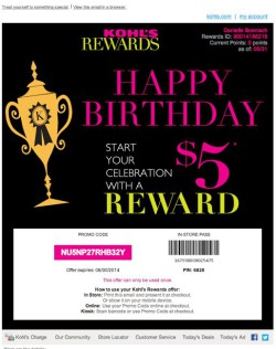 Kohl's Rewards birthday email