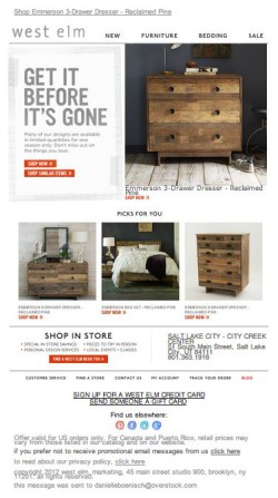 West Elm abandoned cart email