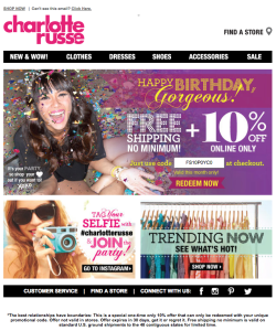 Charlotte Russe birthday email