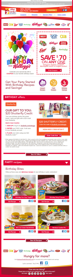 Kellogg birthday email