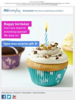 P&G birthday email