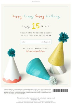 Anthro birthday email