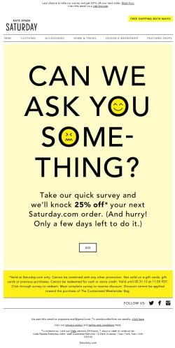 Kate Spade Saturday survey email