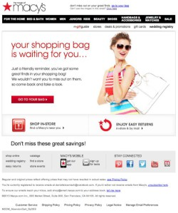 Macy's abandoned cart email
