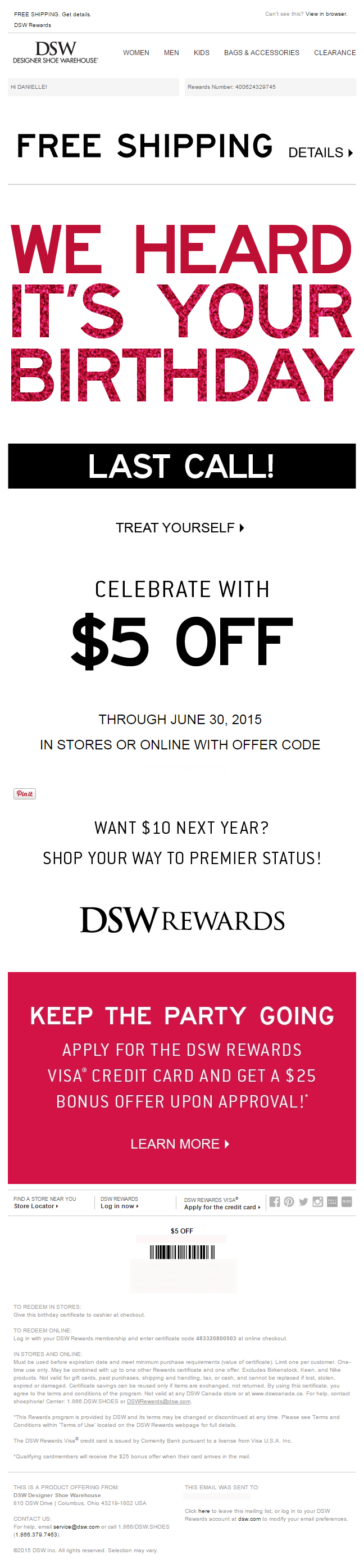 DSW birthday email