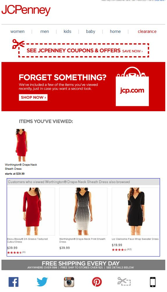 JCPenney browse abandonment email
