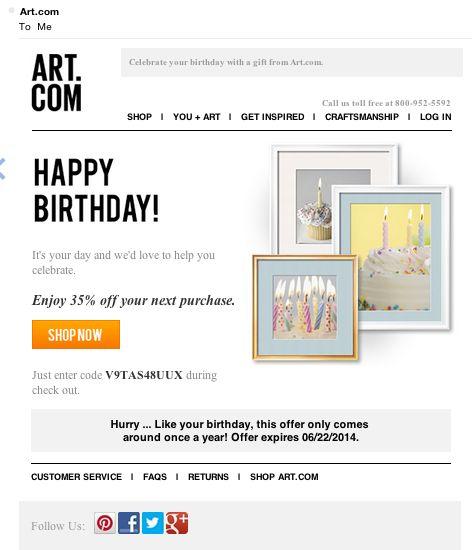 Art.com birthday email