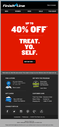 Finish Line Treat Yo Self email