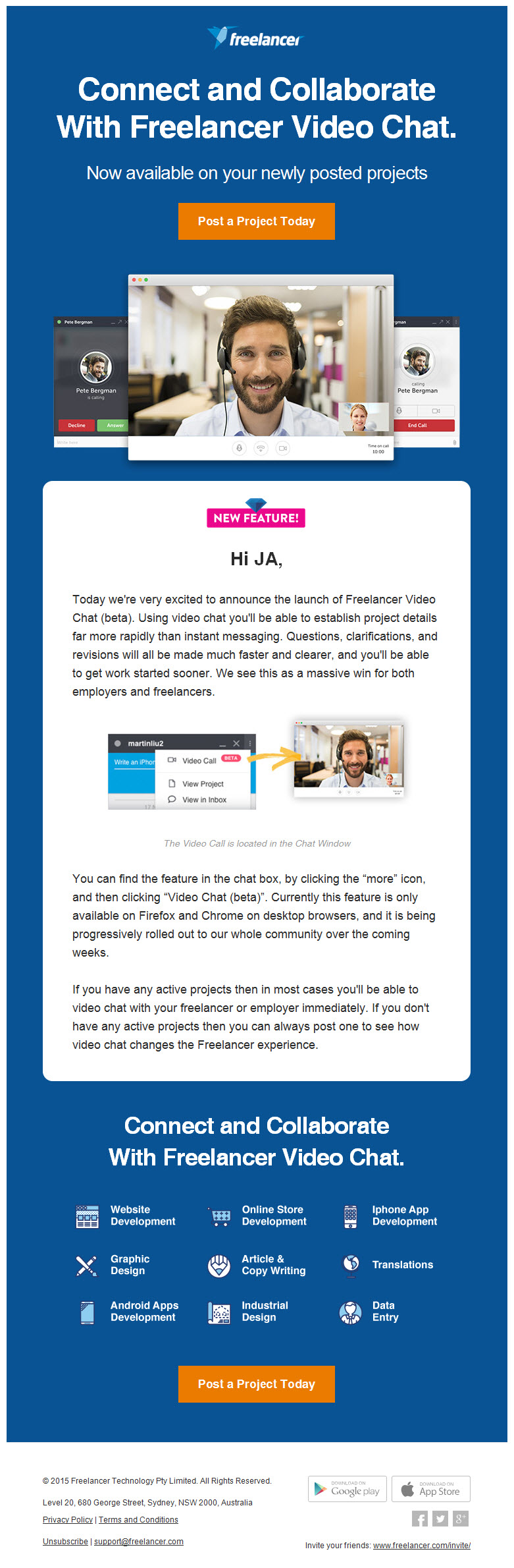 Freelancer.com new feature email