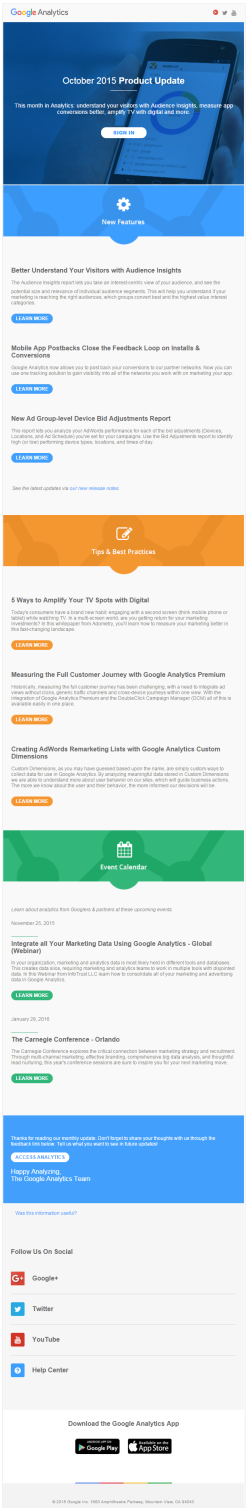 Google Analytics welcome email 2015