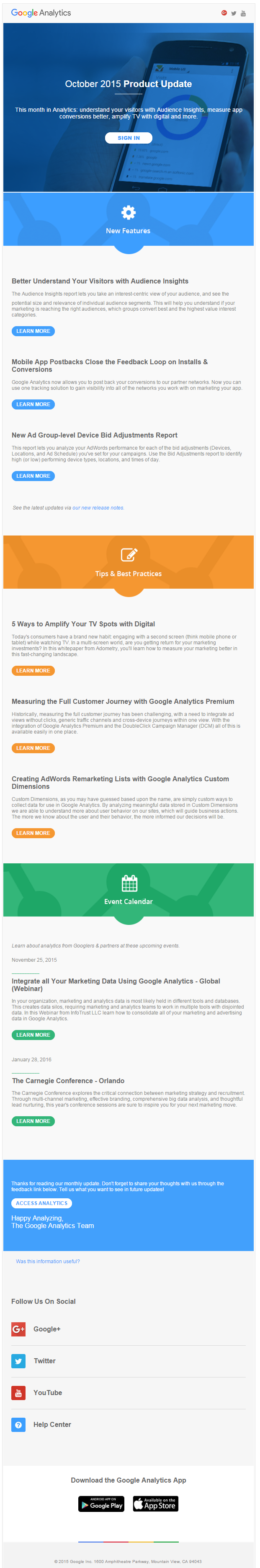 Google Analytics welcome email 2015