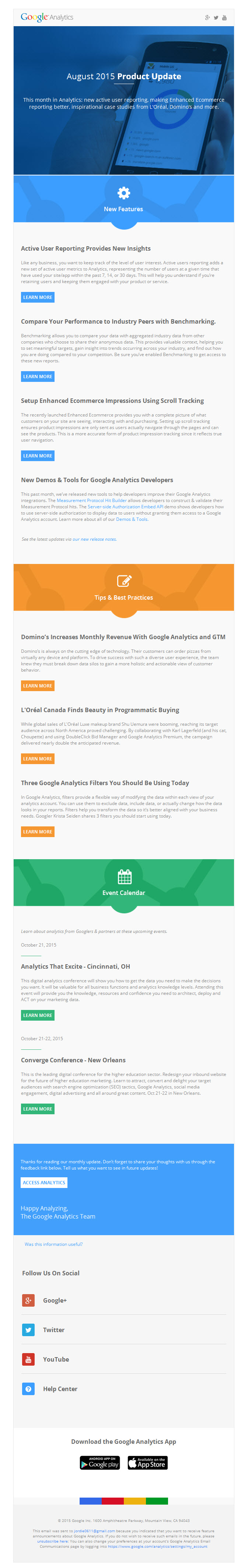 Google analytics – product update