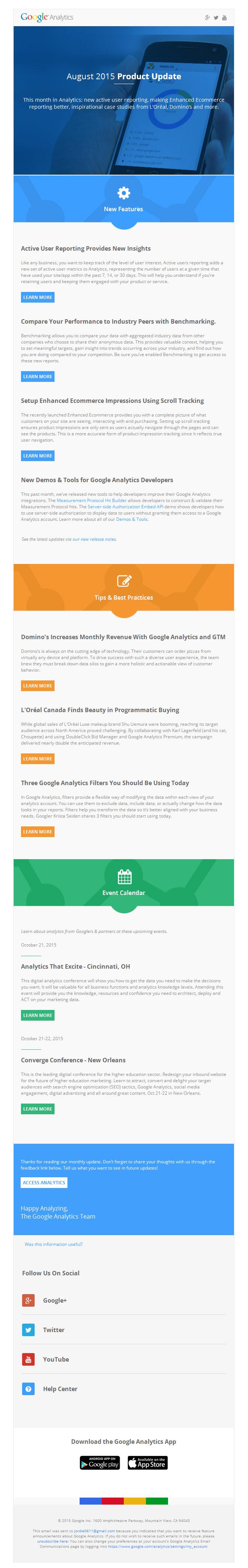 Google analytics – product update