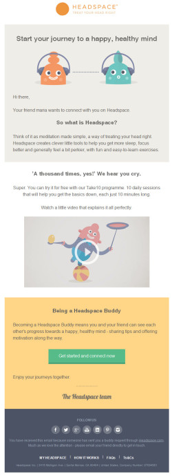 Headspace Friend invite mail