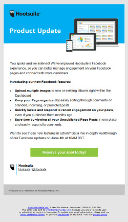 Hootsuite Product Update / Launch email