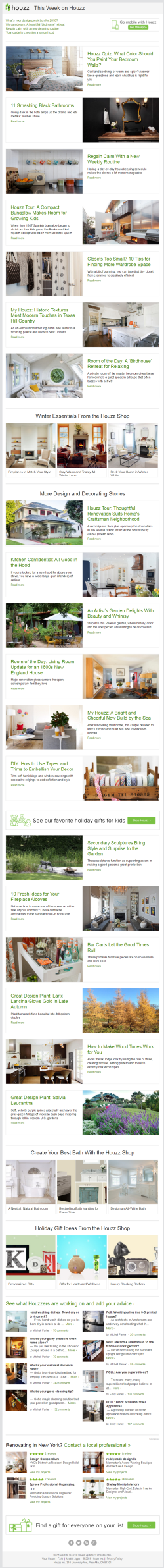 Houzz newsletter