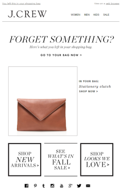 J Crew abandoned cart email