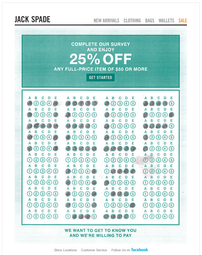 Jack Spade Complete our survey and enjoy 25 off