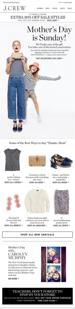 J. Crew Mother's Day email