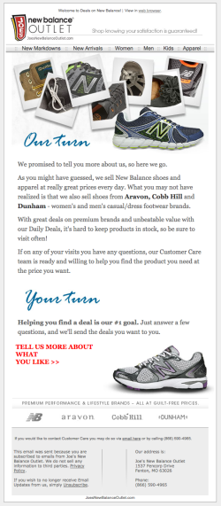 New Balance Outlet email preferences