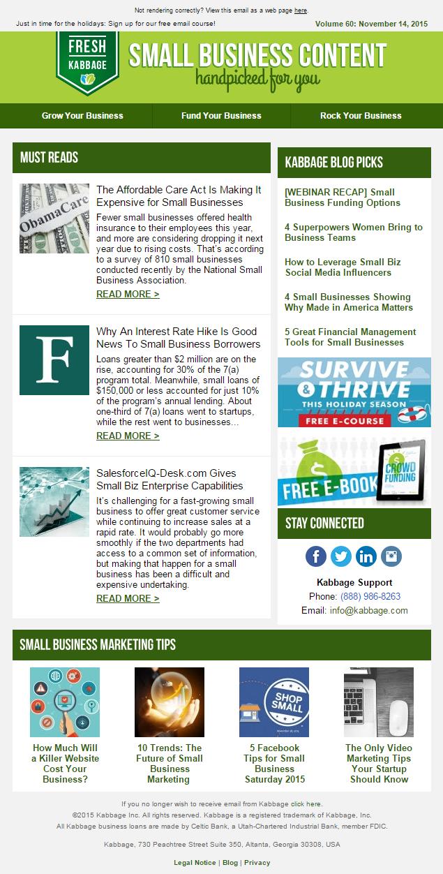Kabbage newsletter email Nov 2015