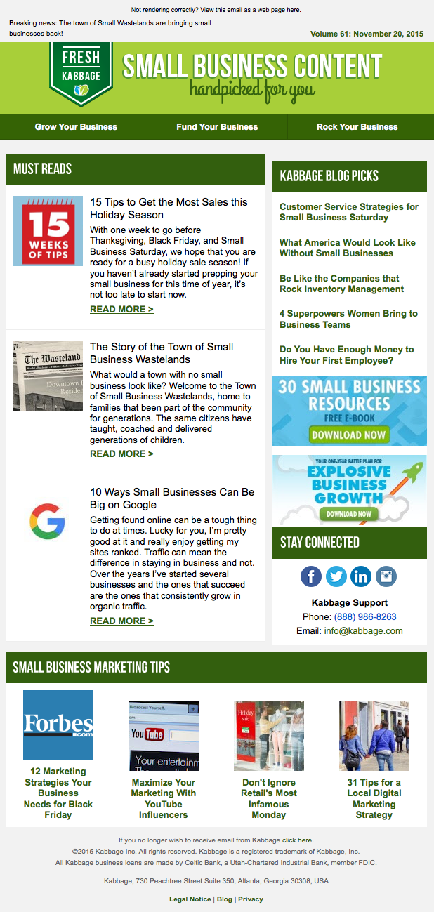 Kabbage newsletter email 2015