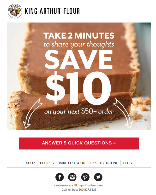 King Arthur flour – survey email part 1