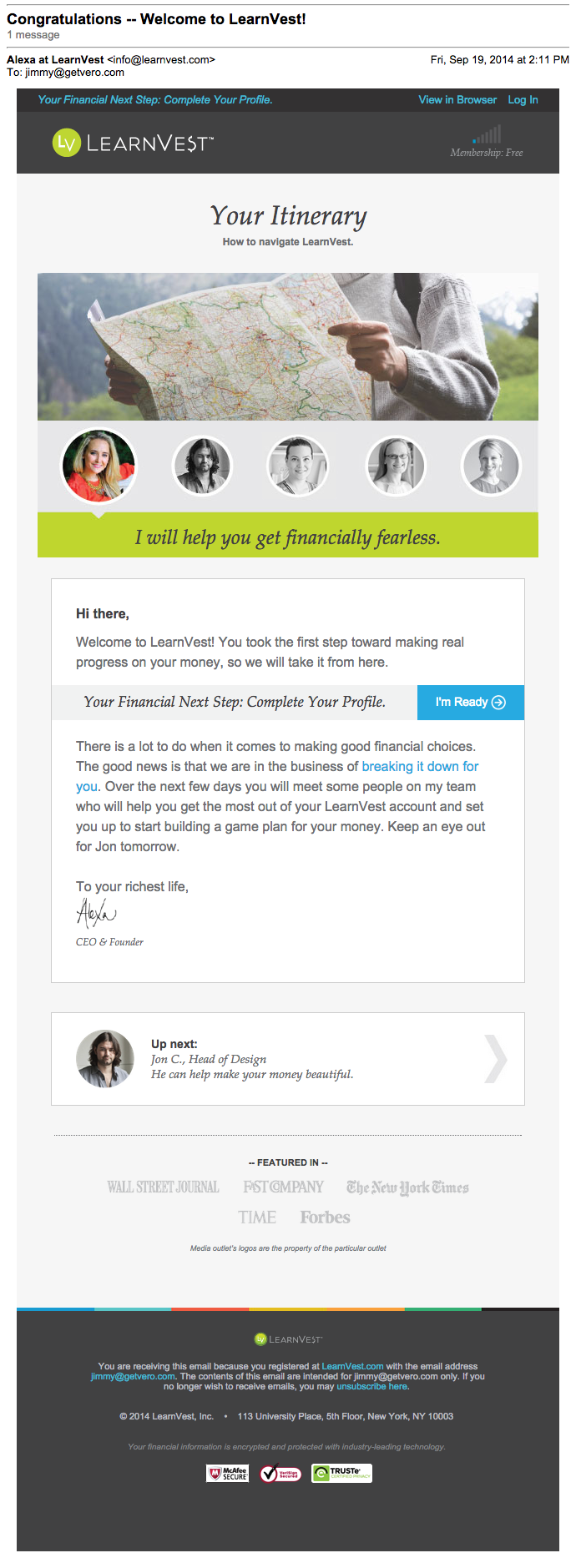 Learnvest onboarding email
