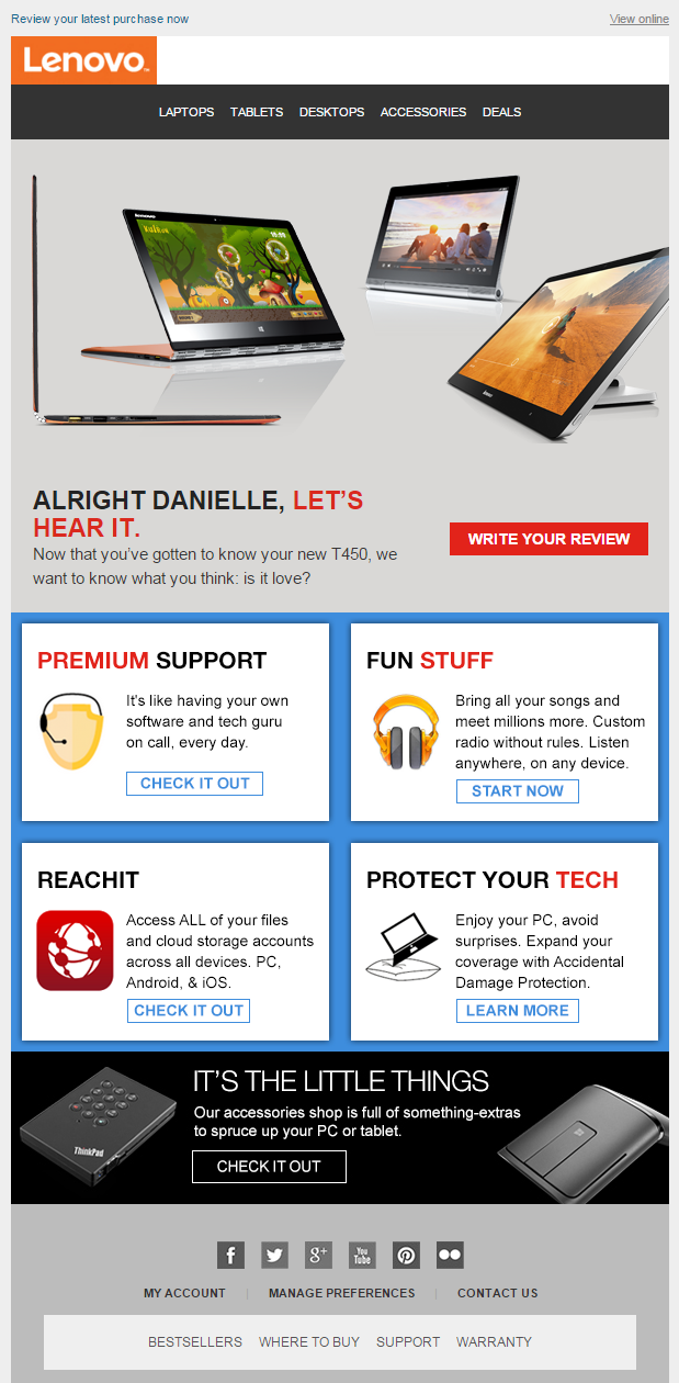 Lenovo review request email 2015