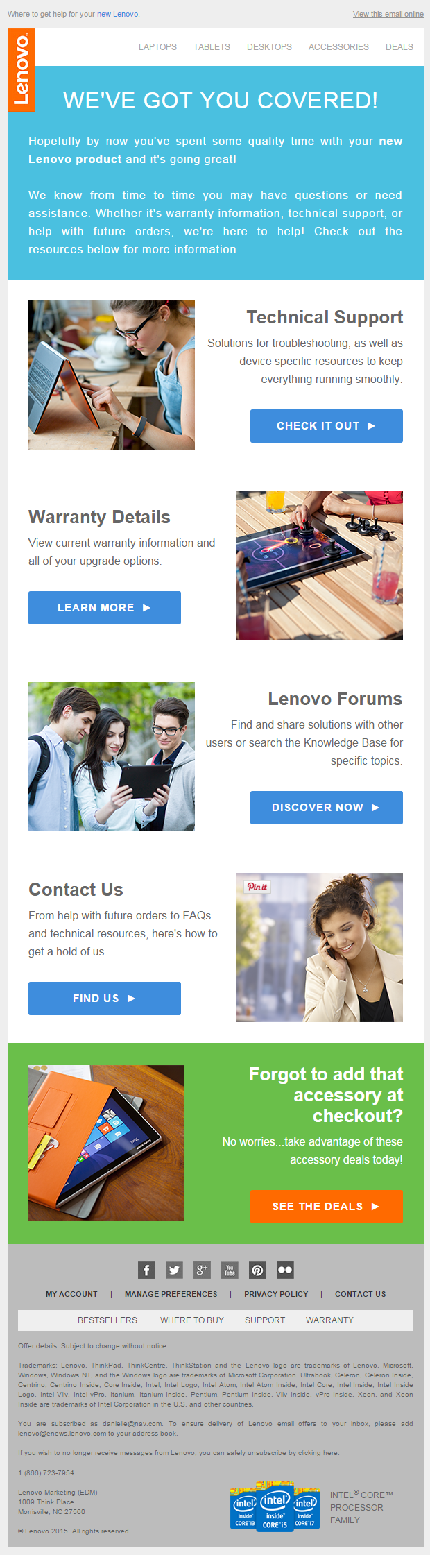 Lenovo welcome email 2015