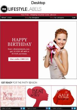 LifestyleLabels Birthday Email