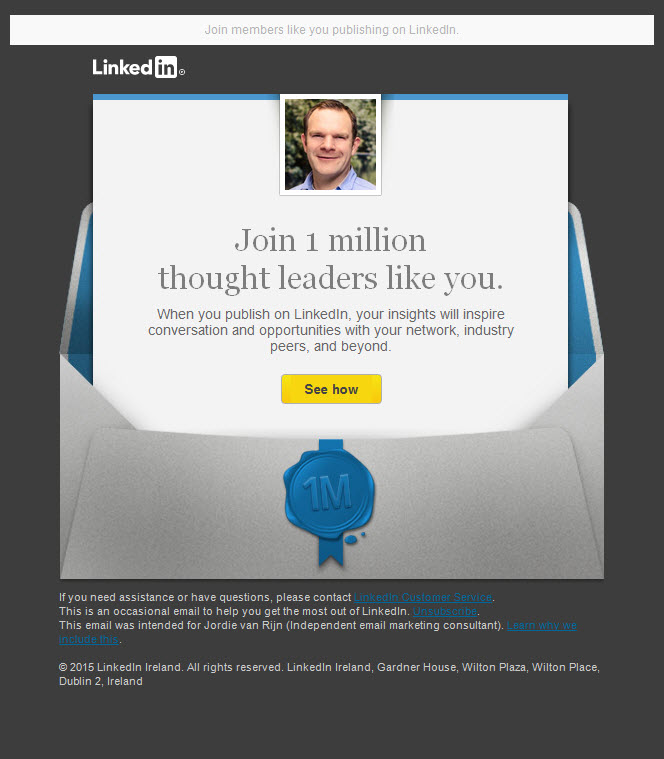 Linkedin Thought leader email example